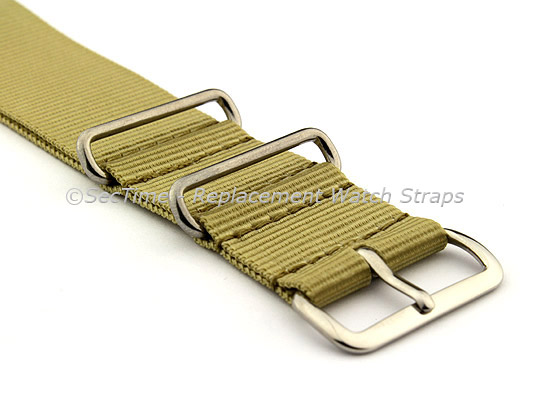 NATO G10 Watch Strap Military Nylon Divers (3 rings) Light Green 20mm