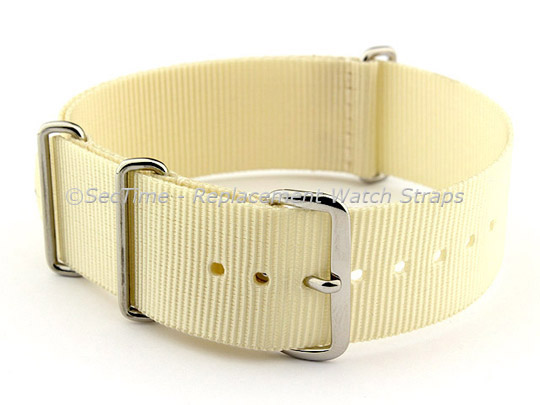 NATO G10 Watch Strap Military Nylon Divers (3 rings) Cream 20mm