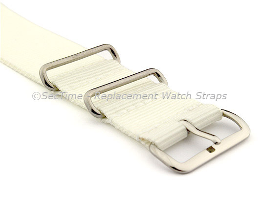 NATO G10 Watch Strap Military Nylon Divers (3 rings) White 20mm