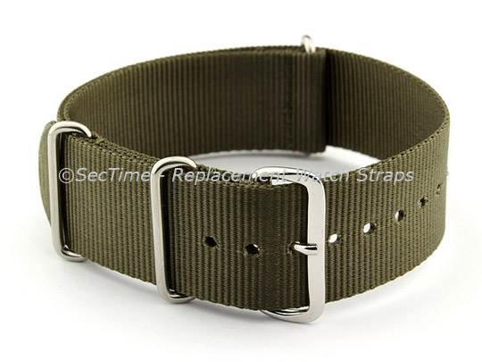 NATO G10 Watch Strap Military Nylon Divers (3 rings) Olive Green 24mm