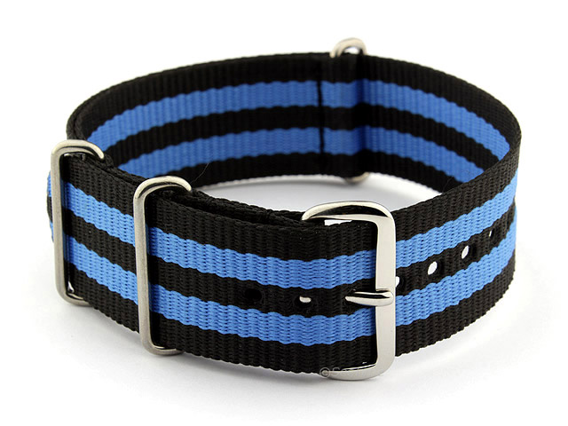 NATO G10 Watch Strap Military Nylon Divers (3 rings) Black/Blue 24mm