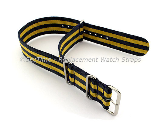 NATO G10 Watch Strap Military Nylon Divers (3 rings) Blue/Yellow 24mm