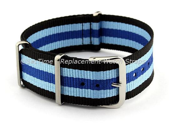 NATO G10 Watch Strap Military Nylon Divers (3 rings) Black/Blue/N.Blue 22mm