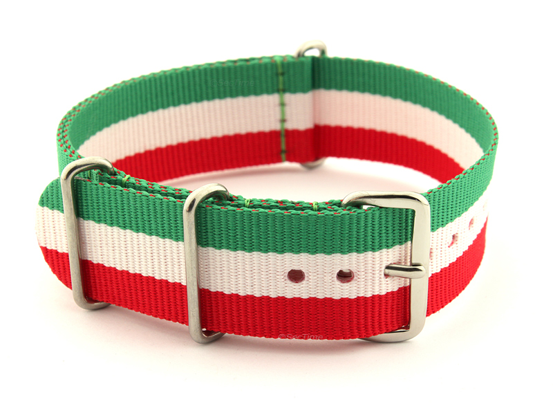 NATO G10 Watch Strap Military Nylon Divers 3 rings Green/White/Red (Italy) 24mm