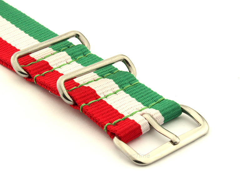 NATO G10 Watch Strap Military Nylon Divers 3 rings Green/White/Red (Italy) 20mm