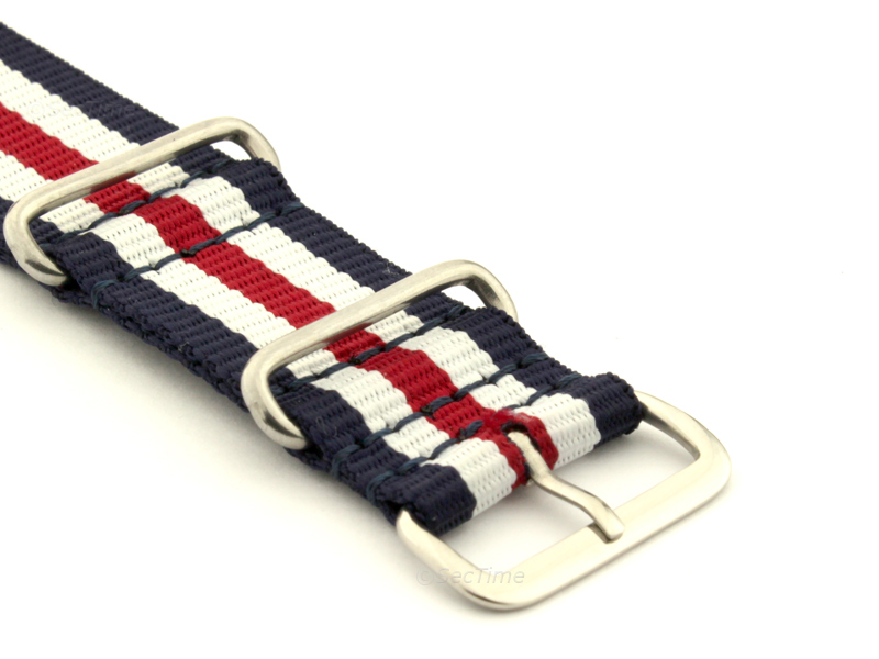 NATO G10 Watch Strap Military Nylon Divers 3 rings N.Blue/White/Red (5) 22mm