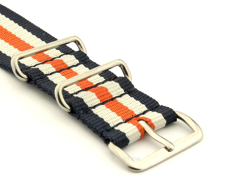 NATO G10 Watch Strap Military Nylon Divers 3 rings N.Blue/White/Orange (5) 24mm