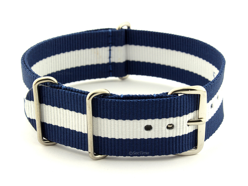 NATO G10 Watch Strap Military Nylon Divers 3 rings Blue/White (3) 18mm