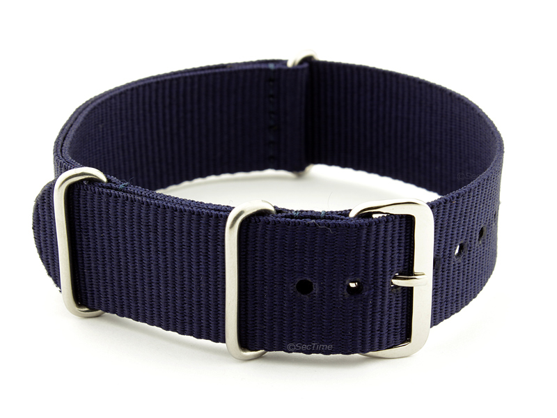 NATO G10 Watch Strap Military Nylon Divers 3 rings Night Navy Blue 20mm