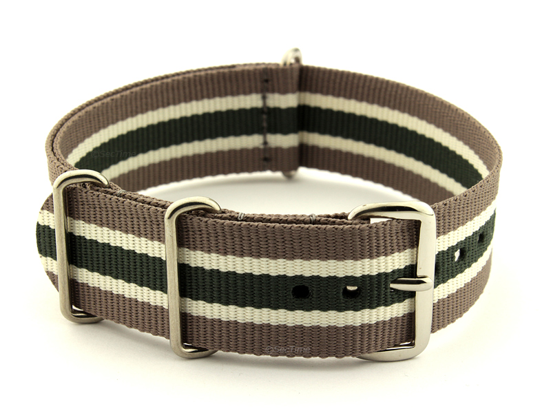 NATO G10 Watch Strap Military Nylon Divers 3 rings Hazel/Cream/Green (5) 24mm