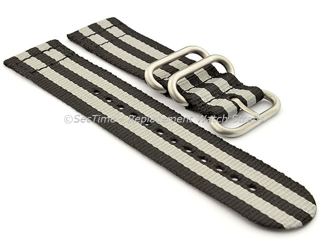 TWO-PIECE NATO Nylon Watch Strap Bond-Style Brushed Rings Black/Grey 20mm
