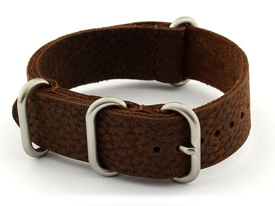 22mm Dark Brown - Genuine Leather Watch Strap / Band NATO VINTAGE, Military