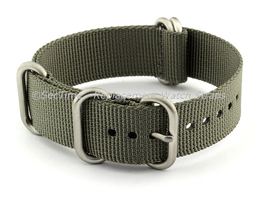 20mm Grey - Nylon Watch Strap / Band Strong Heavy Duty (4/5 rings) Military