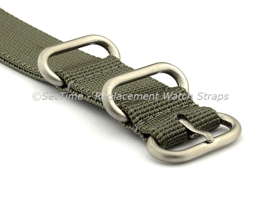 26mm Grey - Nylon Watch Strap / Band Strong Heavy Duty (4/5 rings) Military