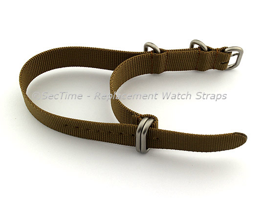 18mm Desert Tan - Nylon Watch Strap/Band Strong Heavy Duty (4/5 rings) Military