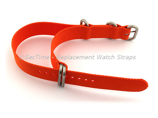 26mm Orange - Nylon Watch Strap / Band Strong Heavy Duty (4/5 rings) Military
