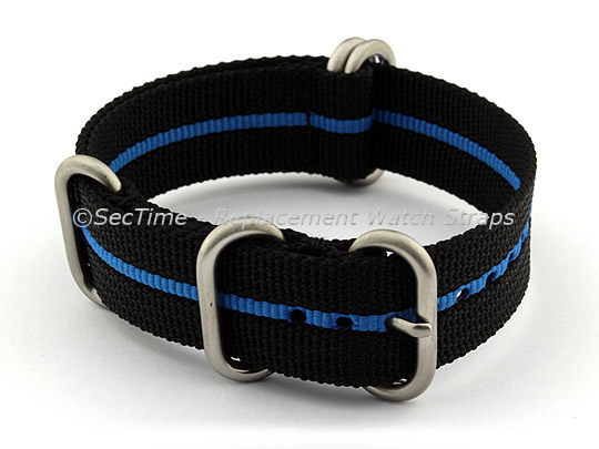 20mm Black/Blue - Nylon Watch Strap/Band Strong Heavy Duty (4/5 rings) Military