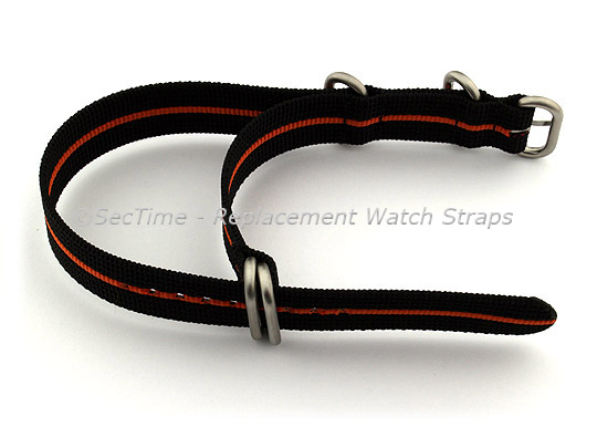 26mm Black/Orange - Nylon Watch Strap/Band Strong Heavy Duty(4/5 rings) Military