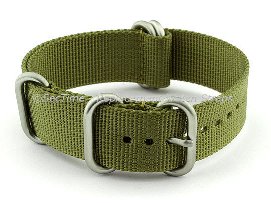 NATO Nylon Watch Strap Strong Heavy Duty (4/5 rings) Military Olive Green 20mm