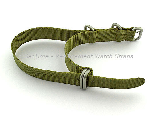 NATO Nylon Watch Strap Strong Heavy Duty (4/5 rings) Military Olive Green 26mm