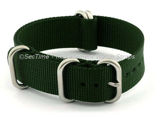 NATO Nylon Watch Strap Strong Heavy Duty (4/5 rings) Military Green 26mm