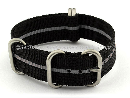 NATO Nylon Watch Strap Strong Heavy Duty (4/5 rings) Military Black/Grey 26mm