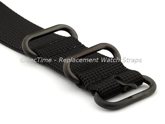 22mm Black - Nylon Watch Strap / Band Strong Heavy Duty (4/5 rings) PVD