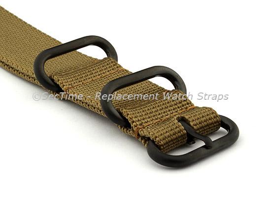 22mm Desert Tan - Nylon Watch Strap / Band Strong Heavy Duty (4/5 rings) PVD