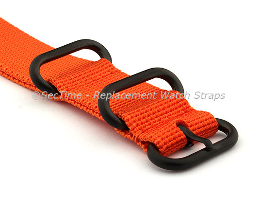 26mm Orange - Nylon Watch Strap / Band Strong Heavy Duty (4/5 rings) PVD