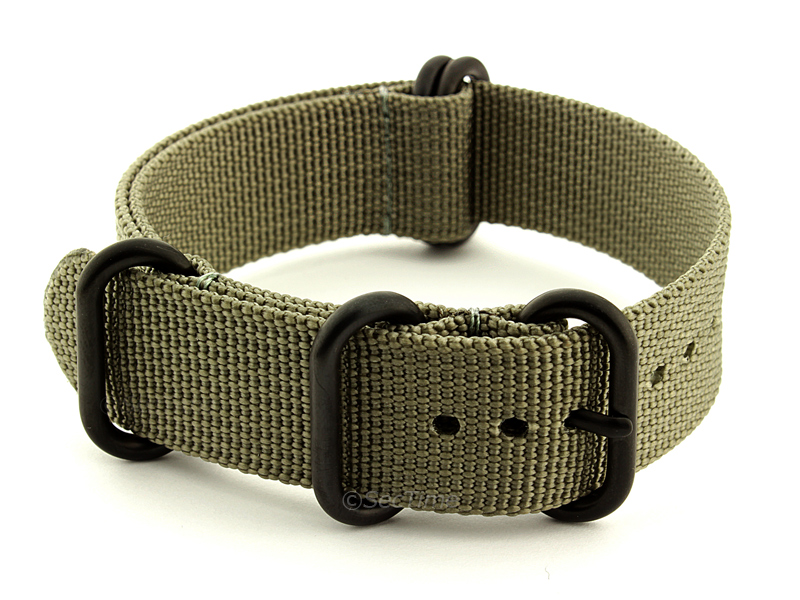 22mm Grey - Nato Nylon Watch Strap / Band Strong Heavy Duty (4/5 rings) PVD