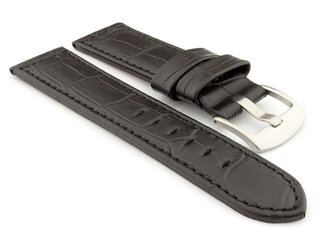 Genuine Leather Watch Strap CROCO PAN Black/Black 24mm