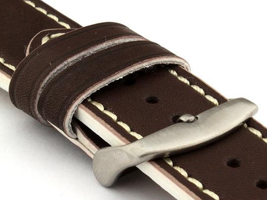 Genuine Leather Watch Band PORTO 20mm Dark Brown/White