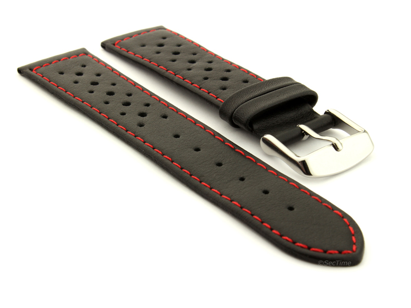 20mm Black/Red - Genuine Leather Watch Strap / Band RIDER, Perforated