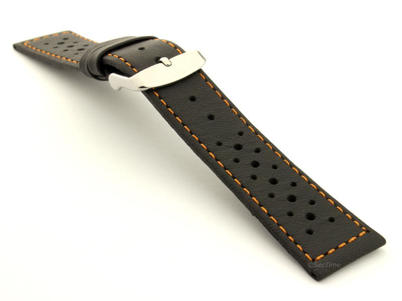 20mm Black/Orange - Genuine Leather Watch Strap / Band RIDER, Perforated