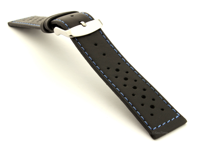 18mm Black/Blue - Genuine Leather Watch Strap / Band RIDER, Perforated