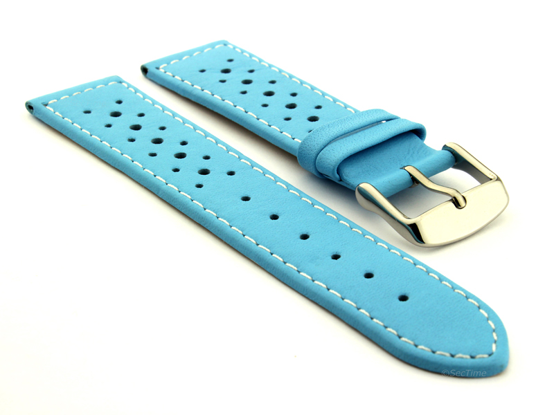20mm Sky Blue/White - Genuine Leather Watch Strap / Band RIDER, Perforated