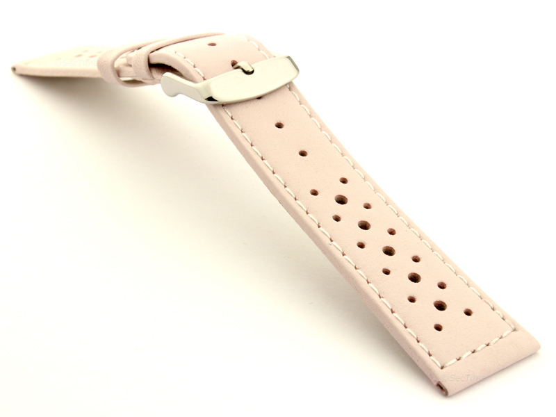 20mm Pink/White - Genuine Leather Watch Strap / Band RIDER, Perforated