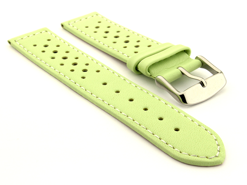 22mm Pistachio/White - Genuine Leather Watch Strap / Band RIDER, Perforated