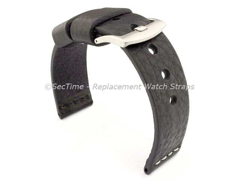 Genuine Leather Watch Strap RIVIERA RM Black/White 20mm