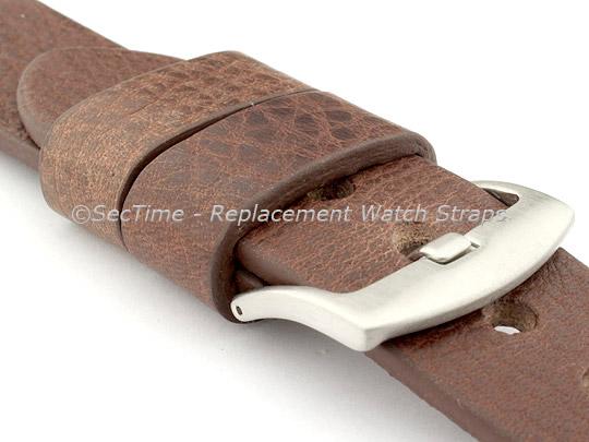 Genuine Leather Watch Strap RIVIERA RM Dark Brown/White 22mm