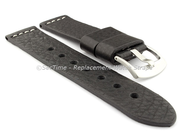 Genuine Leather Watch Strap RIVIERA Extra Long Black/White 20mm