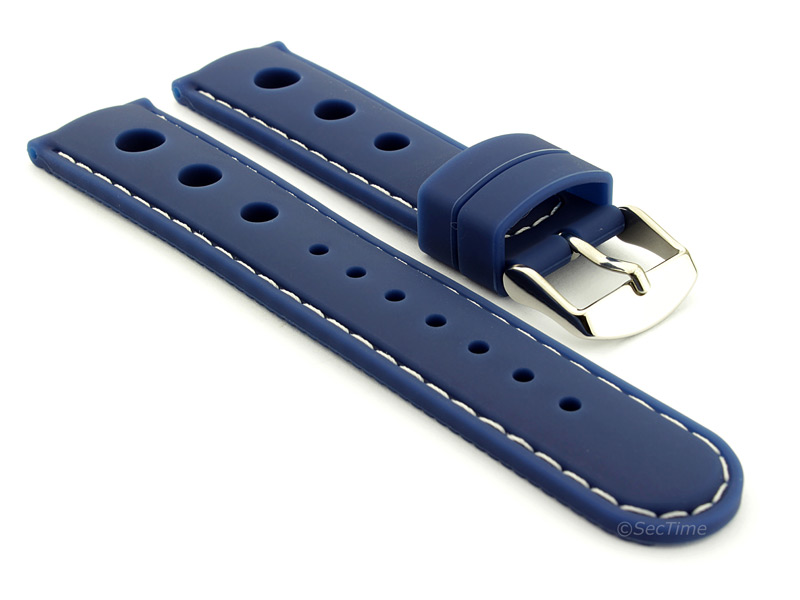 WATCH STRAP Silicon SPORTS Waterproof Stainless Steel Buckle Blue/White 20mm