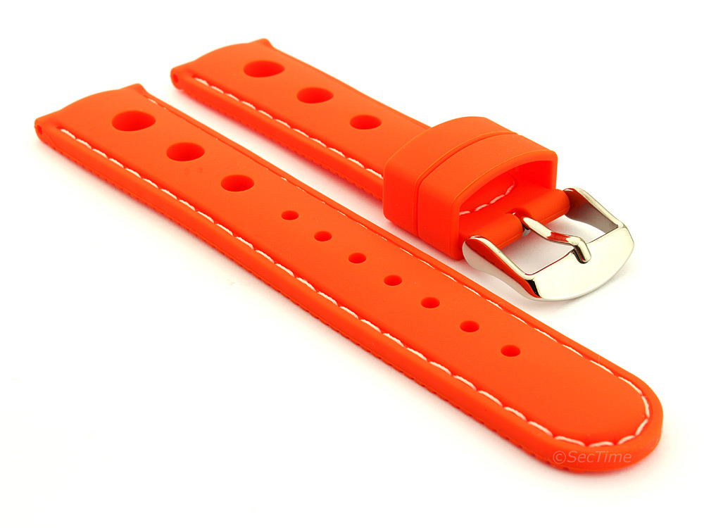 WATCH STRAP Silicon SPORTS Waterproof Stainless Steel Buckle Orange/White 20mm